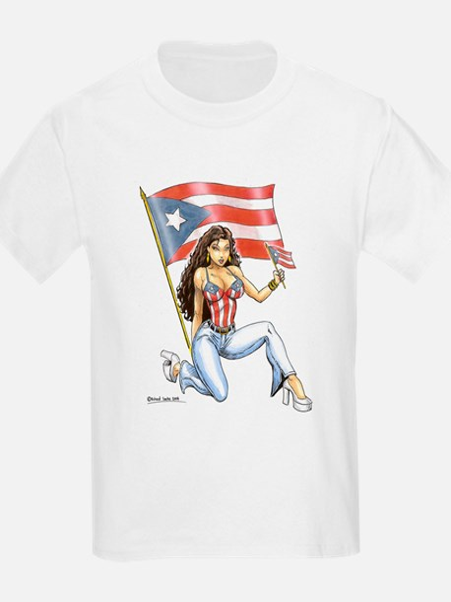 Puerto Rican flag girl Kids T-Shirt