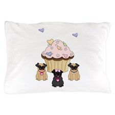 Pug Dog Cupcakes Pillow Case