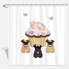 Pug Dog Cupcakes Shower Curtain