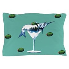 Marlin martini teal Pillow Case