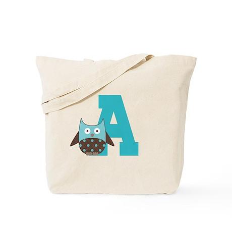 Letter A Owl Monogram Initial Tote Bag