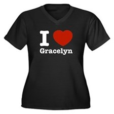 I love Gracelyn Women's Plus Size V-Neck Dark T-Sh