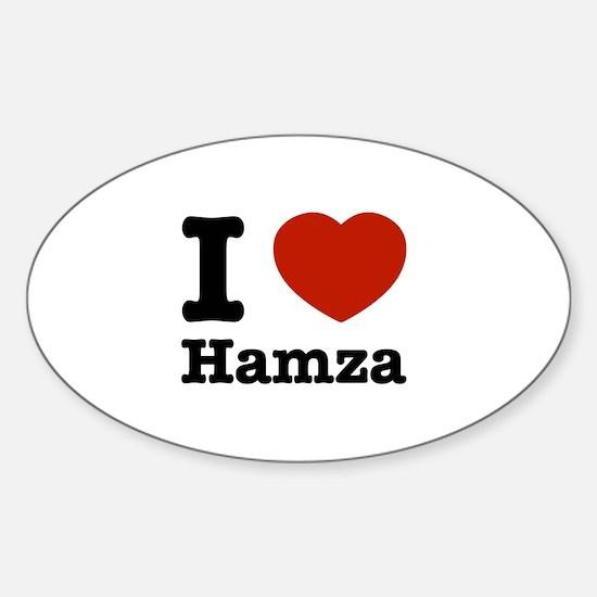 I love Hamza Sticker (Oval)