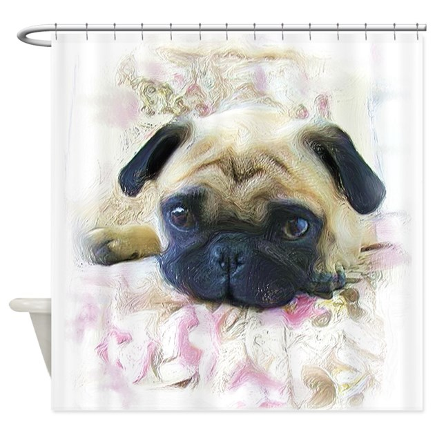 Pug Dog Shower Curtain By Ritmoboxers