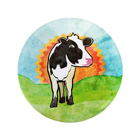 """Dairy Cow 3.5"""" Button (100 pack)"""