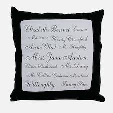 Jane Austen (silver) Throw Pillow