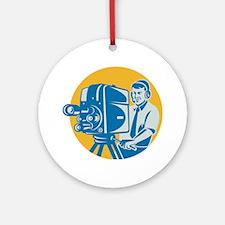 TV Cameraman retro Ornament (Round)