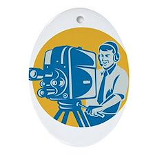 TV Cameraman retro Ornament (Oval)