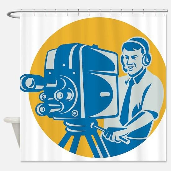 TV Cameraman retro Shower Curtain