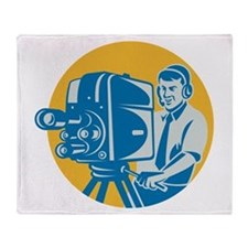 TV Cameraman retro Throw Blanket