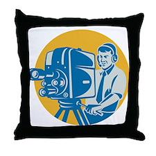 TV Cameraman retro Throw Pillow