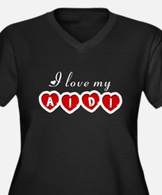 I love my Aidi Women's Plus Size V-Neck Dark T-Shi