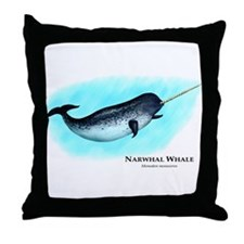 Narwhal Whale Throw Pillow