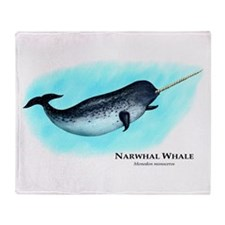 Narwhal Whale Throw Blanket