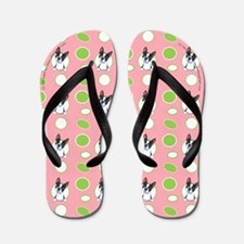 Peeking Boston Terrier Pink Flip Flops
