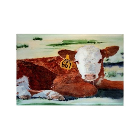 Hereford Calf Rectangle Magnet (100 pack)