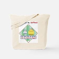 Baseball vs. Softball Tote Bag