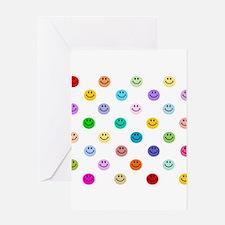 Rainbow Smiley Pattern Greeting Card
