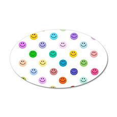 Rainbow Smiley Pattern 22x14 Oval Wall Peel