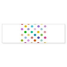 Rainbow Smiley Pattern Bumper Sticker