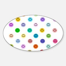 Rainbow Smiley Pattern Sticker (Oval)
