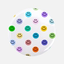 "Rainbow Smiley Pattern 3.5"" Button"