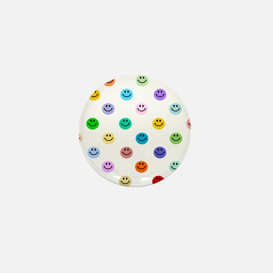 Rainbow Smiley Pattern Mini Button
