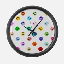 Rainbow Smiley Pattern Large Wall Clock