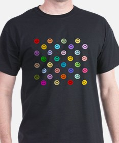 Rainbow Smiley Pattern T-Shirt