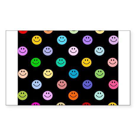 Rainbow Smiley Pattern Sticker (Rectangle)