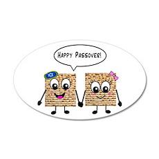 Happy Passover Matzot 22x14 Oval Wall Peel