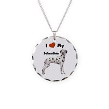 I Love My Dalmatian Necklace Circle Charm