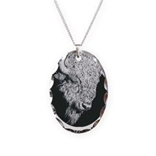 Great White Buffalo Necklace Oval Charm