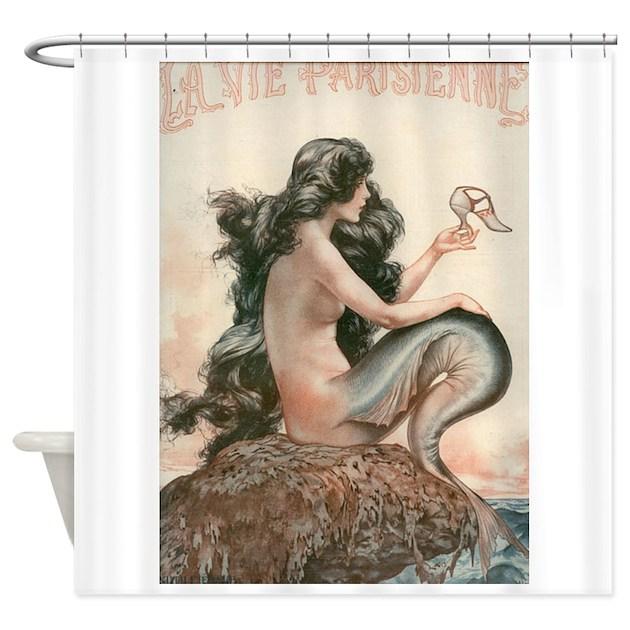 Vintage Mermaid Paris Shower Curtain By Vintagemermaid