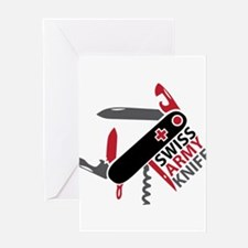 Swiss Knife Design Greeting Card