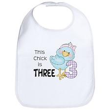 This Chick is Three Baby Bib