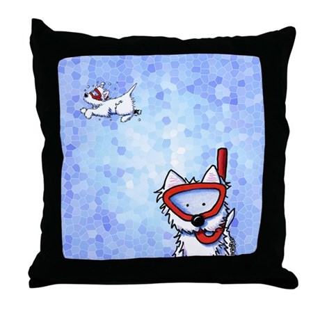 Snorkel Westies Throw Pillow