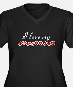 I love my Chiweenie Women's Plus Size V-Neck Dark