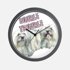 Double Trouble Coton de Tulea Wall Clock