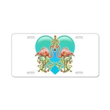 Flamingo Love Aluminum License Plate