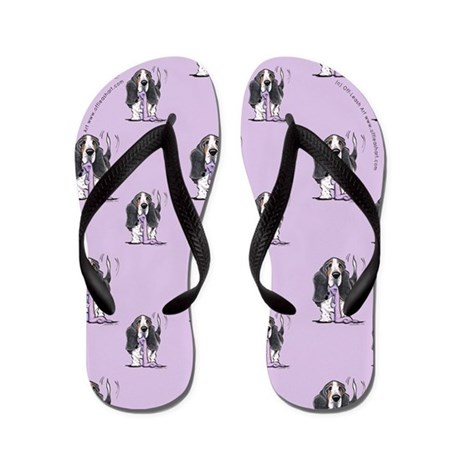 Tricolor Basset Seeing Purple Flip Flops