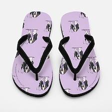 Tricolor Basset Seeing Purple Flip Flops