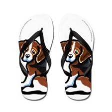 Tricolor Beagle Cartoon Flip Flops