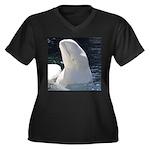 Beluga Whale Women's Plus Size V-Neck Dark T-Shirt