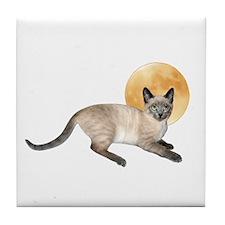 Full Moon Cat Tile Coaster
