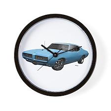 1968 GTO Alpine Blue Wall Clock