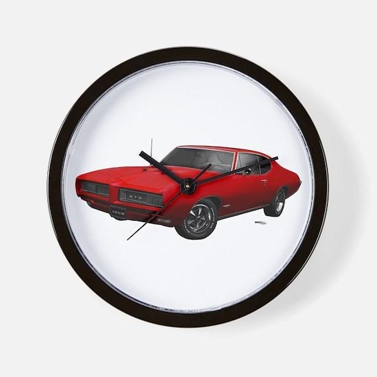 1968 GTO Solar Red Wall Clock