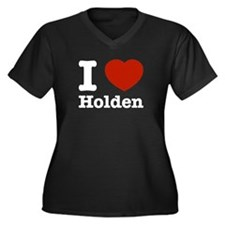 I love Holden Women's Plus Size V-Neck Dark T-Shir