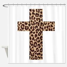 LEOPARD CROSS Shower Curtain