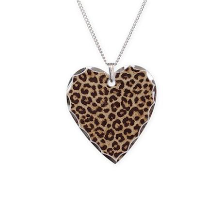 LEOPARD PRINT Necklace Heart Charm